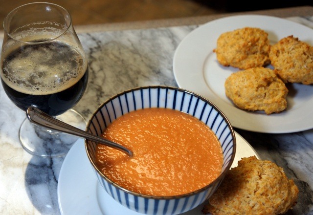 Creamy Tomato Soup with Chipotle Cheddar Biscuits
