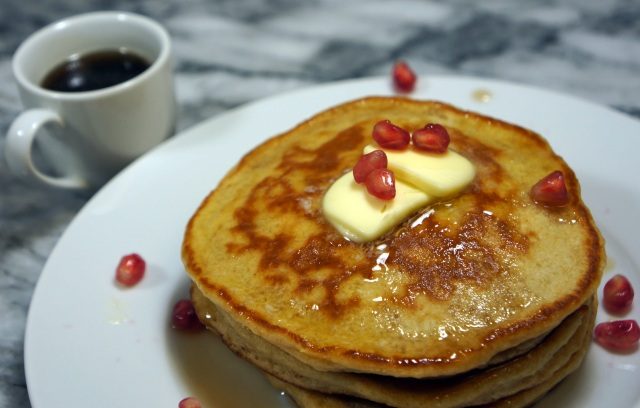 Whole Wheat Pancakes with Pomegranate Maple Syrup