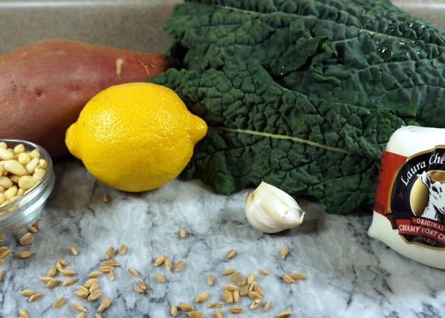 Sweet Potato, Kale, Lemon, Garlic, Goat Cheese, Pine Nuts, Farro