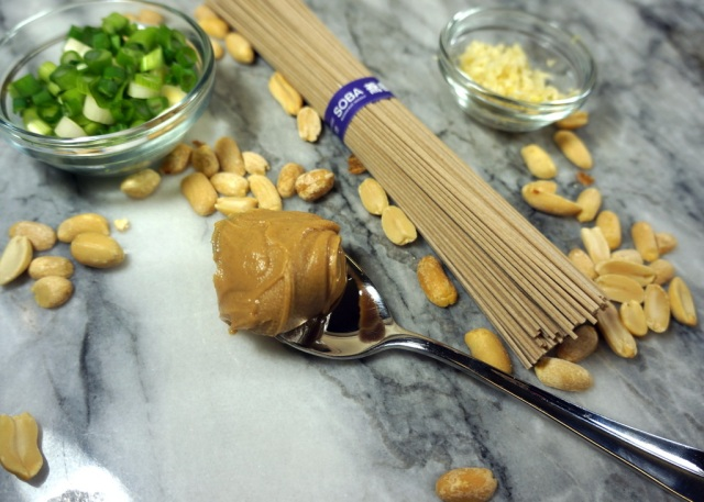Soba Noodles, Peanut Butter, Green Onions, Ginger, Garlic