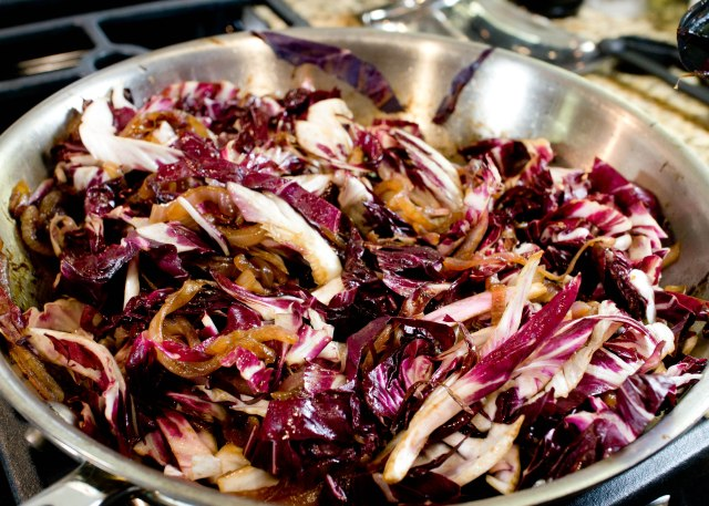 Saute Radicchio with Caramelized onions