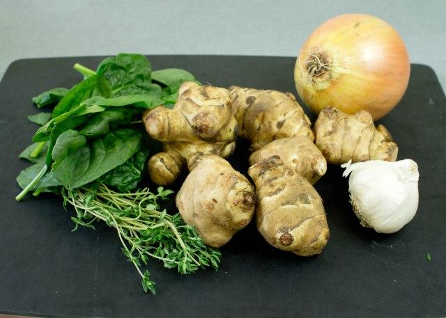 Spinach, Thyme, Jerusalem Artichokes, Onion, Garlic