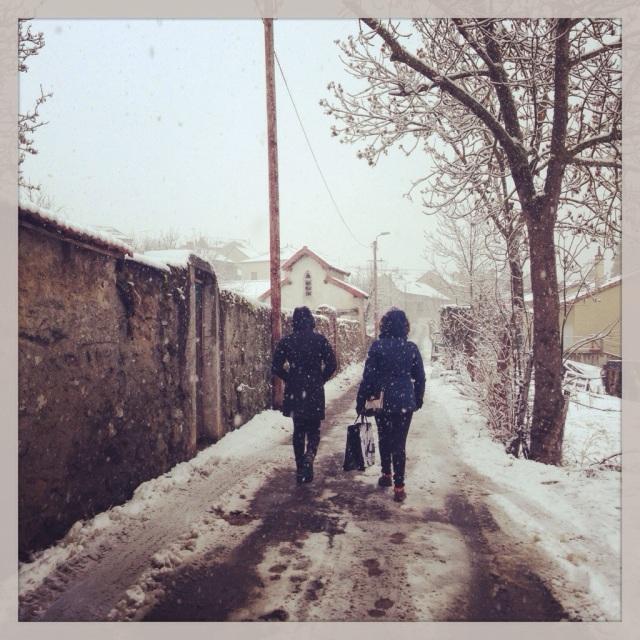 Snowy Walk to Class